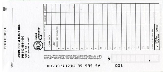 deposit slips for business