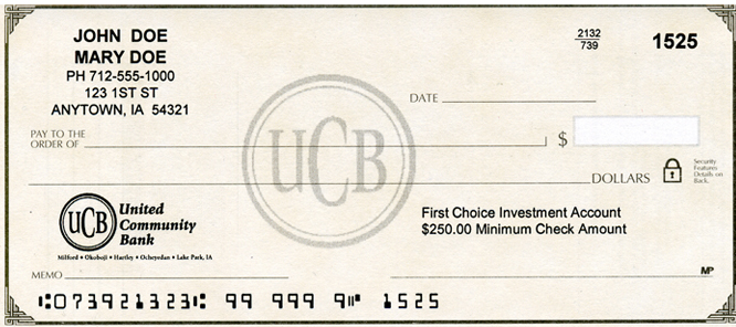 UCB First Choice Investment Check Image